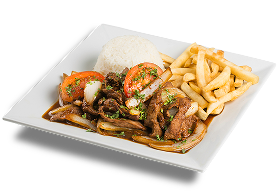 a plate with Beef Sauteed, a plate with 1/2 chicken, a plate of Peruvian food, a seafood sampler