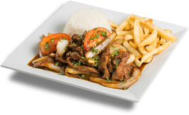 a white plate with Peruvian food.